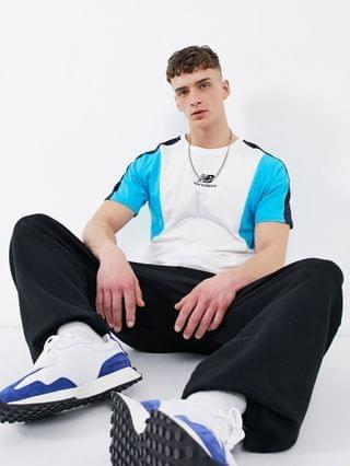 New Balance color-block T-shirt in white and blue