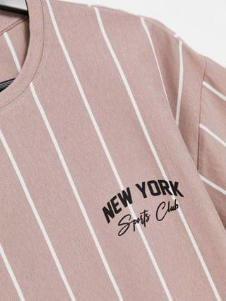 New Look vertical striped t-shirt with NY embroidery in pink