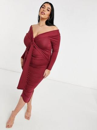 WOMEN Curve bardot long sleeve midi dress with sash detail in maroon