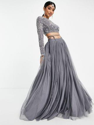 WOMEN crystal placement crop top with open back