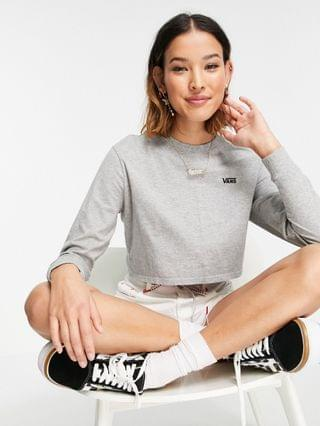 WOMEN Vans Surf Supply cropped long sleeve t-shirt in gray