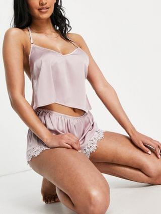 WOMEN Wolf & Whistle lace and satin crop cami and short pajama set in mink