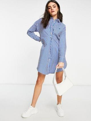 WOMEN River Island stripe nipped mini shirt dress in blue