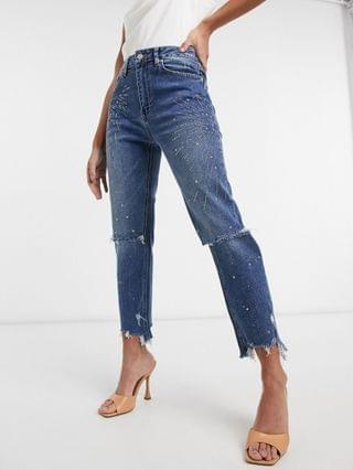 WOMEN Blue Revival distressed crop jean with embellishment in dark wash blue