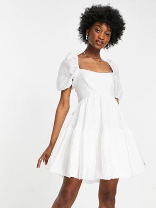 WOMEN Bardot tiered square neck mini dress with open back and bow detail in white