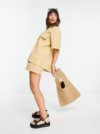 WOMEN bowling shirt in washed honey - part of a set
