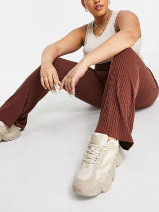 WOMEN Yours Exclusive ribbed flared pants in cinnamon