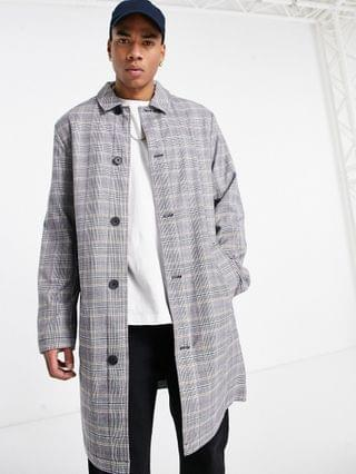 single breasted trench coat in gray check