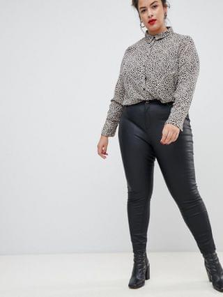 WOMEN River Island Plus Molly coated skinny jeans in black