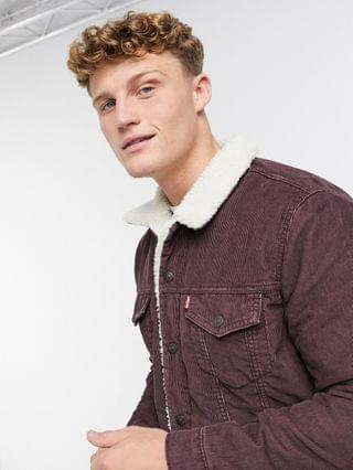TEST LEVI Levi's type 3 sherpa lined corduroy trucker jacket in all spice red