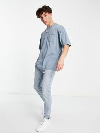 New Look oversized coordinating washed T-shirt in blue