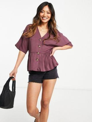WOMEN peplum top with contrast buttons in washed purple