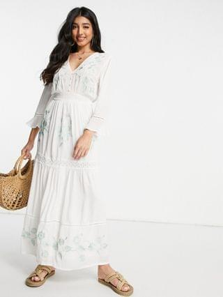 WOMEN casual embroidered maxi dress with lace inserts in white