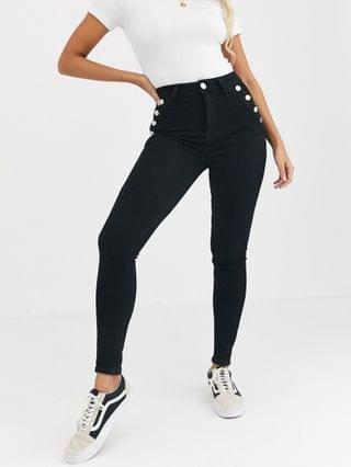 WOMEN River Island skinny jeans with button detail in black