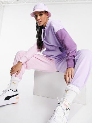 WOMEN Puma Downtown color block hoodie in lilac and pink - exclusive to