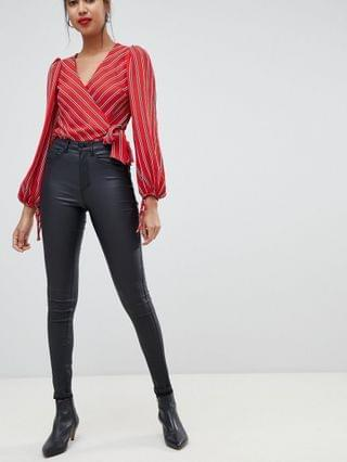 WOMEN Only high waisted coated skinny jean in black