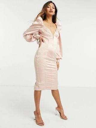 WOMEN long sleeve quilted satin plunge wired body-conscious midi dress in pale pink