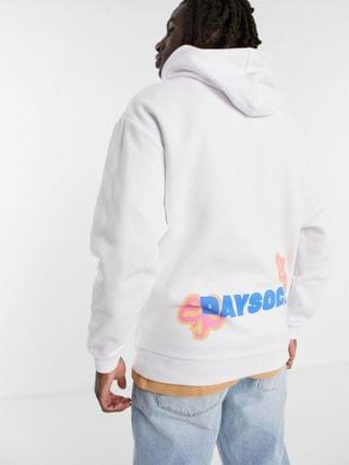 Daysocial oversized hoodie with front and back floral logo print in white