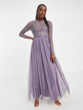 WOMEN Tall embellished bodice maxi dress with tulle skirt