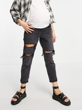 WOMEN Topshop Maternity over the bump worn black Editor jeans
