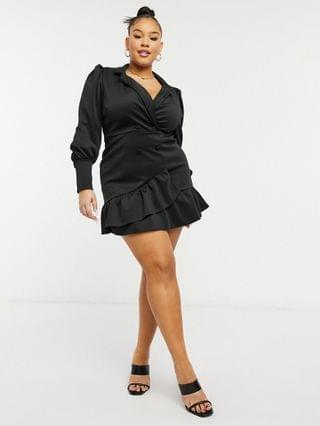 WOMEN Curve tux wrap mini dress in black
