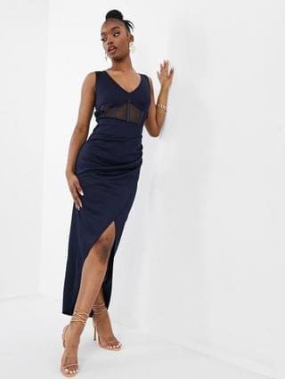 WOMEN Jaded Rose corset detail maxi dress with open back in navy
