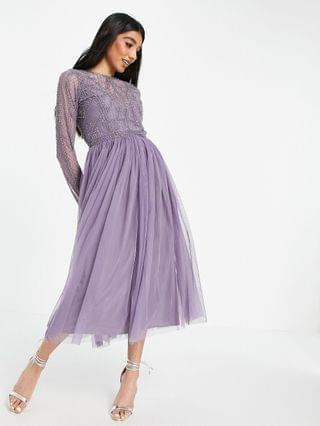 WOMEN embellished bodice midi dress with tulle skirt in Purple
