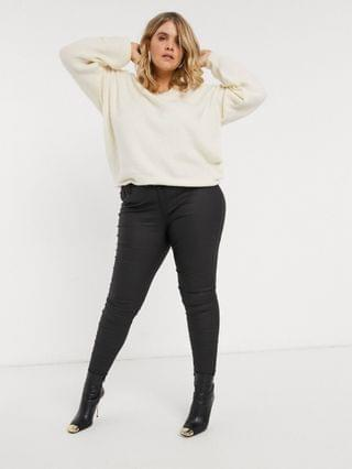 WOMEN River Island Plus Molly waxed coated skinny jeans in black