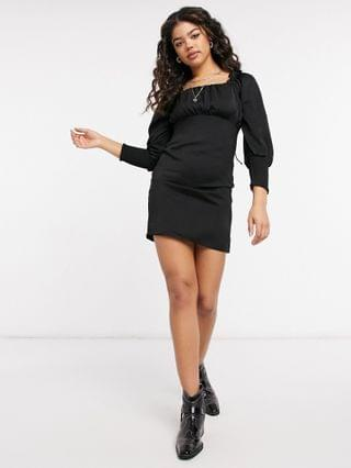 WOMEN Only mini dress with square neck and shirred sleeves in black