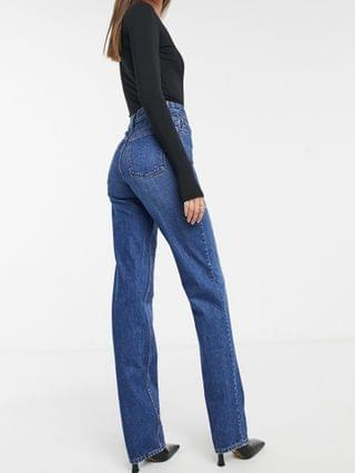 WOMEN Tall organic mid rise '90s straight leg jeans in rich '70s blue
