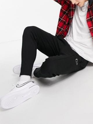 Pr London pin tuck tapered sweatpants in black