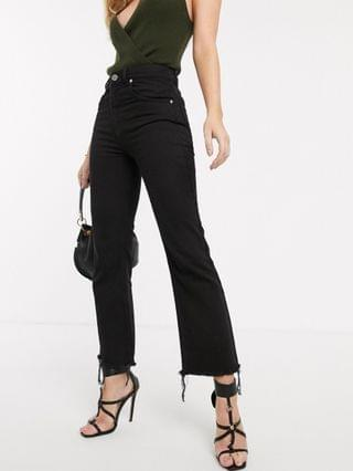 WOMEN Egerton rigid cropped flare jeans in washed black with raw hem