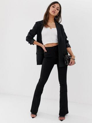 WOMEN bell flare jeans in clean black with pressed crease