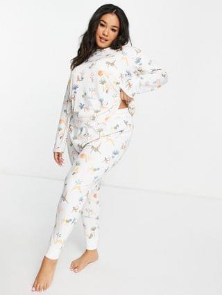 WOMEN Chelsea Peers Curve eco poly long top and sweatpants pajama set in yoga ladies print