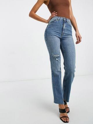 WOMEN Tall high rise stretch 'effortless' crop kick flare jeans in midwash with thigh rip