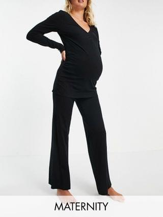 WOMEN Lindex MOM organic cotton button front maternity pajama set