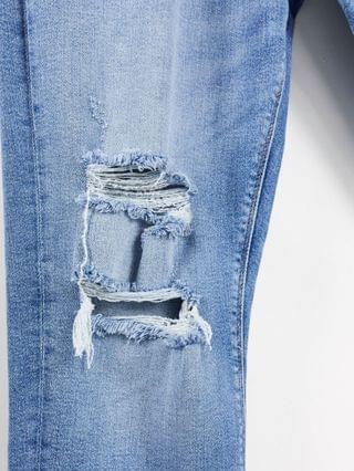 MEN River Island Big & Tall skinny jeans with rips in mid blue