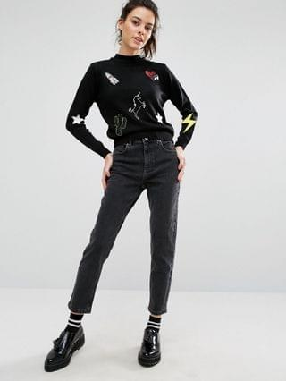 WOMEN Petite Farleigh high waisted slim mom jeans in washed black