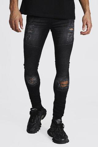 MEN Tall Super Skinny Biker Jean With Distressing
