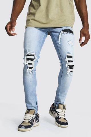 MEN Skinny Distressed Pu Rip & Repair Biker Jean