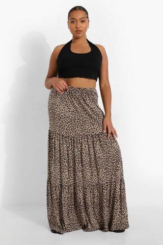 WOMEN Plus Leopard Jersey Tierred Maxi Skirt