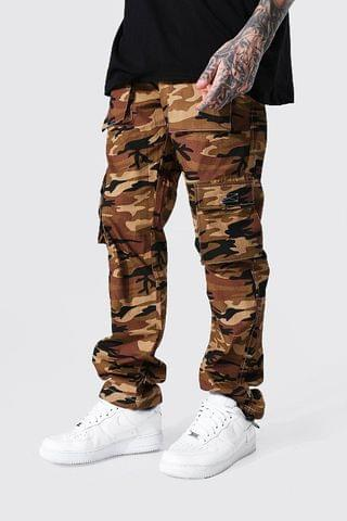 MEN Relaxed Fit Pocket Camo Twill Cargo Trouser