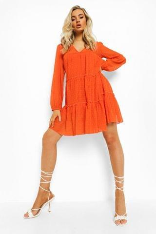 WOMEN Dobby Mesh Long Sleeve Tiered Mini Dress