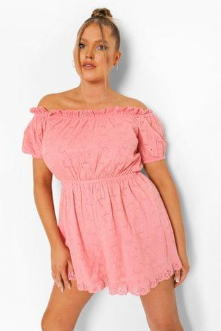 WOMEN Plus Off Shoulder Broderie Anglaise Playsuit