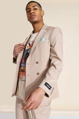 MEN Double Breasted Suit Jacket With Pockets