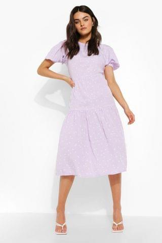 WOMEN Polka Dot Short Sleeve Midi Smock Dress