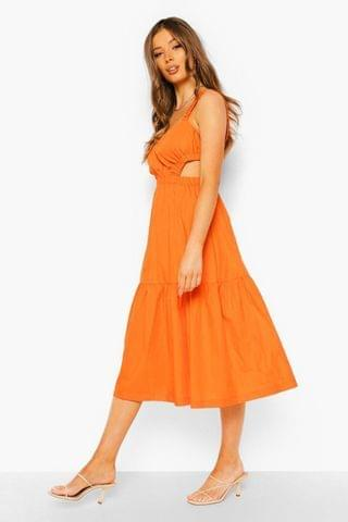 WOMEN Cotton Rouched Cut Out Midi Dress