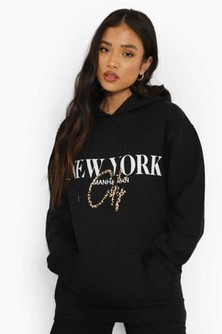 WOMEN Petite New York Leopard Print Oversized Hoody
