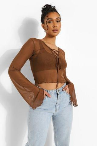 WOMEN Lace Up Mesh Long Sleeve Top
