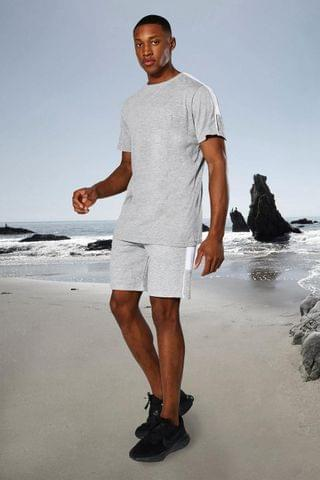 MEN Active Side Stripe T Shirt And Short Set